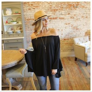 Black off shoulder bell sleeve button down tunic